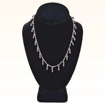 Antique 14k GF Festoon Necklace with Garnet Teardrops