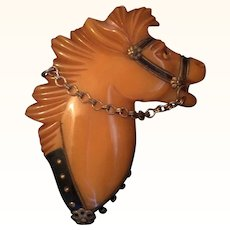 Large Vintage Butterscotch Bakelite Horse with Hardware Attachments