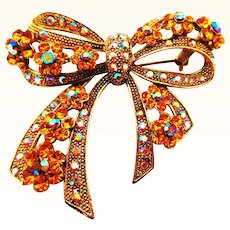 Fancy Rhinestone Encrusted Large Bow Pin