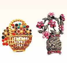 2 Beautiful Flower Basket Pins - Instant Mini Collection!