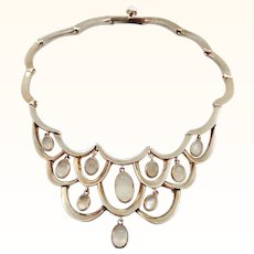 Antonio Pineda Mexico Moonstone Sterling Silver Bib Necklace