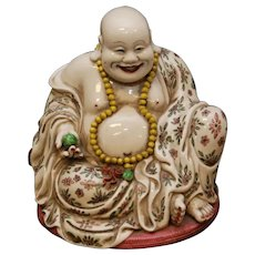 Asian Chinese Porcelain Happy Buddha Hotei - Heavy, Large and Very Pretty!