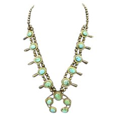 Turquoise and Sterling Native American Navajo Squash Blossom Necklace