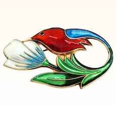 David Andersen Sterling and Enamel Hummingbird Pin