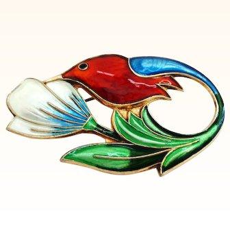 David Andersen Sterling and Enamel Hummingbird Pin