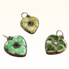 Three Sterling and Enamel Pansy Puffy Heart Pendants or Charms