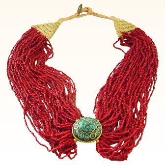 20 Strand Coral Necklace with Turquoise Centerpiece