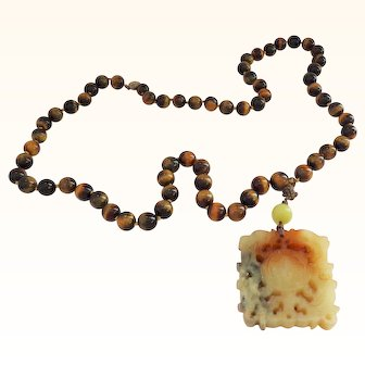Tiger Eye Beads with Large Hardstone Carved Pendant