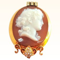 Antique Gold and DIAMOND Hardstone Cameo Pendant or Pin