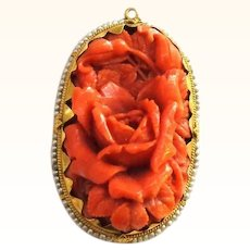 Carved Roses in Coral surrounded by Pearls and 14K Gold