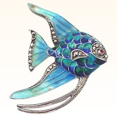 German Made Enamel on Sterling Silver with Marcasites Angel Fish Brooch Pin