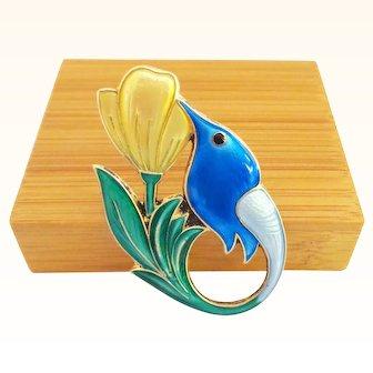 David Andersen Norway Enamel on Sterling Hummingbird Pin in Blue