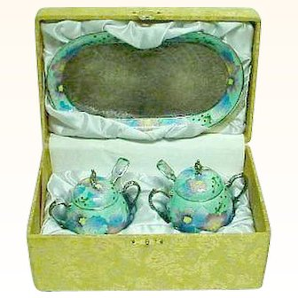 999% Silver and Enamel Cloisonne 7 Piece Boxed Set from Korea