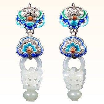 Jade Silver and Enamel Devil's Work Earrings