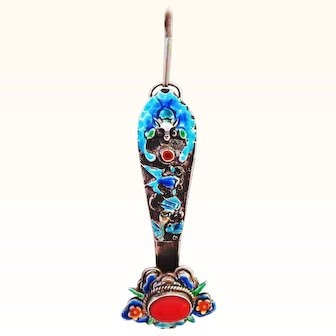 Signed Chinese Silver and Enamel Ruyi Pendant with Coral