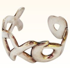 Hugs and Kisses XO Sterling Silver Cuff Bracelet from Mexico
