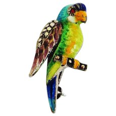 Enamel and Sterling German Vintage Parrot Pin a la Alice Caviness