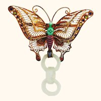 Devil's Work Jade Brooch Pin with Gilt Silver and Enamel Butterfly