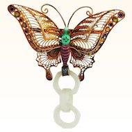 Stupendous Devil's Work Silver and Enamel Butterfly Pin PLUS Earrings