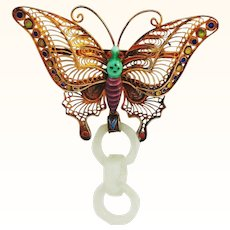 Devil's Work Jade Pendant AND Earrings with Gilt and Enamel Butterfly