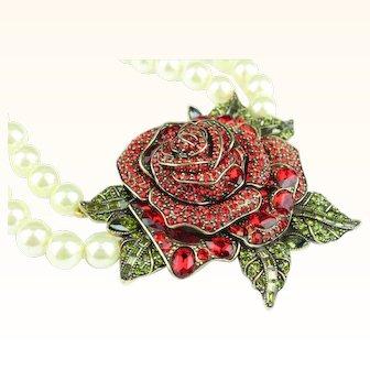 Heidi Daus Red Enchanted Rose Necklace
