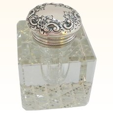Sterling Silver and Heavy Antique Crystal Inkwell