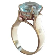 Exquisite 18K and Aquamarine Ring 7.9 ct, Size 9.5 for March Babies and all Others
