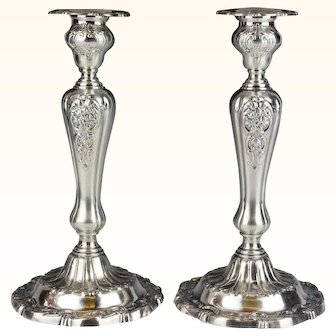 10 3/4 Inch Gorham Sterling Silver Louis XV Pair of Candlesticks