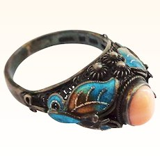 Vintage Chinese Coral Silver and Enamel Ring - Sz 9.5