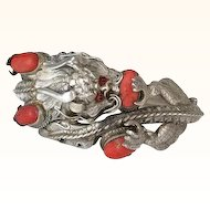 RARE Sterling Silver and Coral Asian Dragon Hinged Bracelet