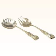 Shiebler Sterling Silver American Beauty Salad Server Set Lovely Roses 1897