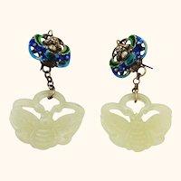 Carved Jade Silver and Enamel Dangle Earrings
