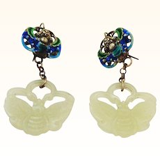 Carved Jade Silver and Enamel Dangle Earrings
