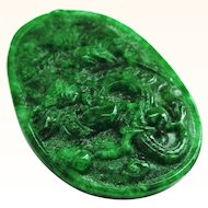 Carved Jade Pendant with Dragon and Phoenix