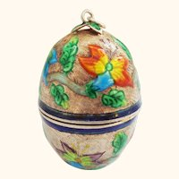 Chinese Enamel on Silver Egg Form Box or Snuff or Thimble Holder
