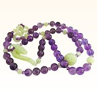 Jade and Amethyst 34 Inch Long Necklace with Exceptional Features