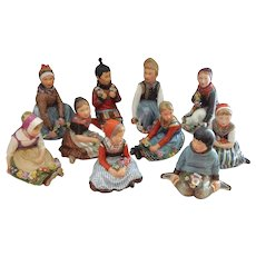 Last and FINAL Price for RARE Set of 10 Royal Copenhagen Polychrome Children of the Provinces Series