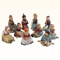 ON SALE - RARE Set of Royal Copenhagen Overglaze Polychrome Children of the Provinces Series