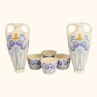 Pair of Amata Pattern Royal Goedewaagen Pottery Dutch Vases