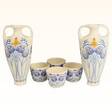 Pair of Amata Pattern Royal Goedewaagen Pottery Dutch