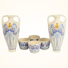 Pair of Amata Pattern Royal Goedewaagen Pottery Dutch