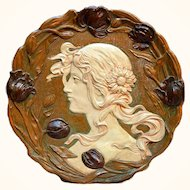 """Teplitz 16"""" Art Nouveau Charger with Tulip Border from Austria"""