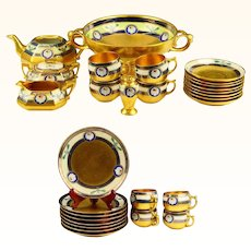 29 Pieces Signed Osborne Limoges Gold Encrusted Linear Pattern