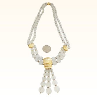 14K Gold and Diamond Rock Crystal Necklace