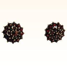 Dainty Garnet Button Earrings
