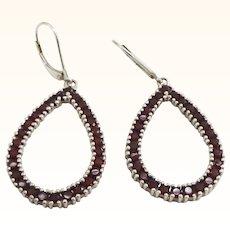 Large Sterling Silver Garnet Earrings