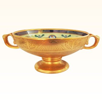 Signed Osborne Encrusted Linear Large Centerpiece Bowl