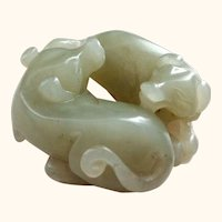 Carved Jade Baby Dragons
