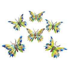 A Rowdy Rabble of Six Sterling and Enamel Butterfly Pins by Alice Caviness