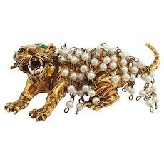 Pauline Rader Fierce Pearly Furred Tiger Pin